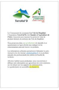 La Communauté de communes Les Vals du Dauphiné, l Association TerraVal' D et la Chambre d'Agriculture de l'Isère…