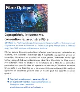 RACCORDEMENT FIBRE OPTIQUE Copropriétés,lotissements conventionnez avec Isère Fibre.
