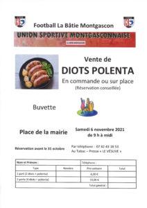 USM vente de diots polenta le 6 novembre
